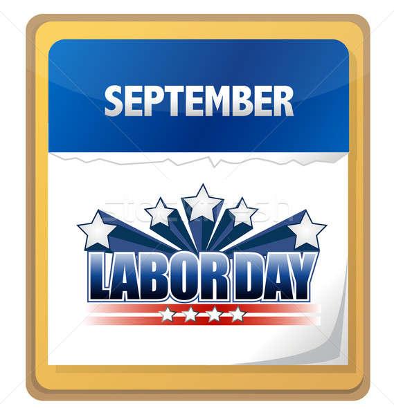 Munka nap naptár illusztráció terv zászló Stock fotó © alexmillos
