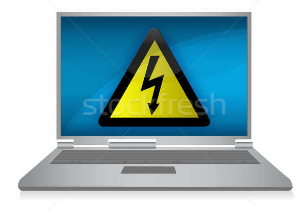 Laptop with electric problems isolated on background  Stock photo © alexmillos
