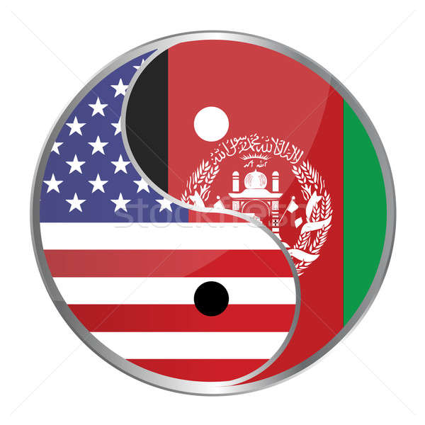 Ying yan symbol with the American and Afghan flags. Stock photo © alexmillos