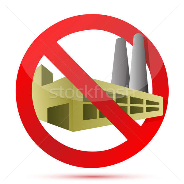 factory forbidden sign illustration design over white background Stock photo © alexmillos