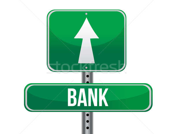 bank road sign illustration design over a white background Stock photo © alexmillos