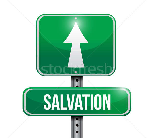salvation road sign illustration design over white Stock photo © alexmillos