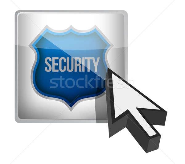 Biztonság pajzs gomb illusztráció terv fehér Stock fotó © alexmillos