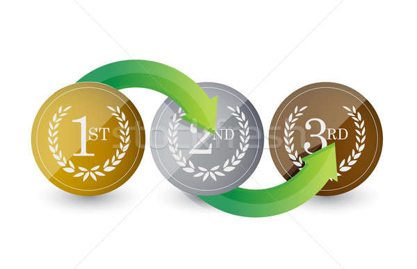 1st, 2nd, 3rd awards golden emblems steps illustration design ov Stock photo © alexmillos