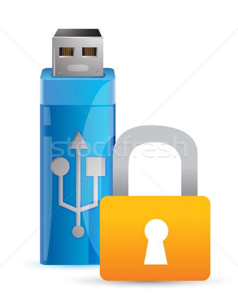 Usb kłódki flash drive kluczowych ilustracja projektu Zdjęcia stock © alexmillos