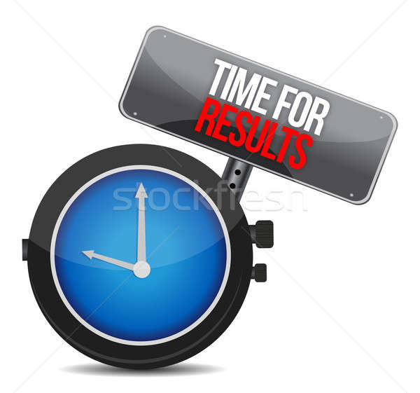 time for results concept clock on white background Stock photo © alexmillos