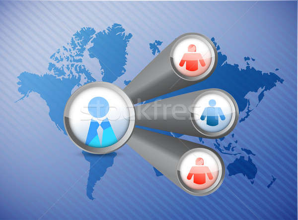 people network world map illustration design over a blue backgro Stock photo © alexmillos