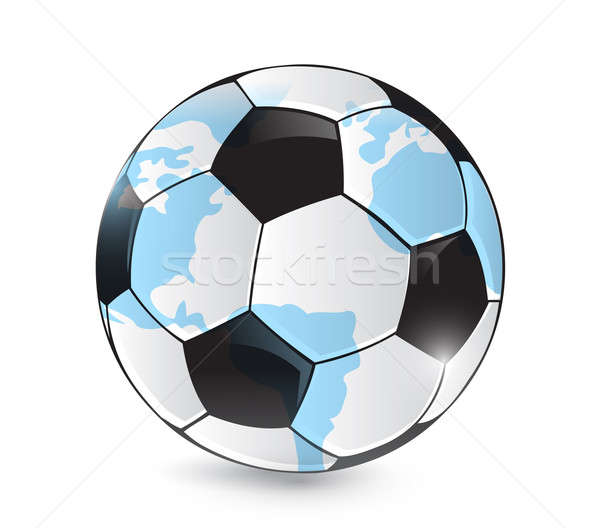 soccer world map ball illustration design over a white backgroun Stock photo © alexmillos