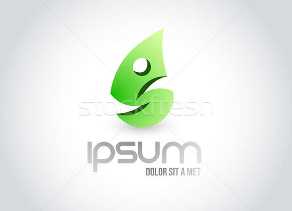 fitness eco leaf symbol illustration design over white Stock photo © alexmillos