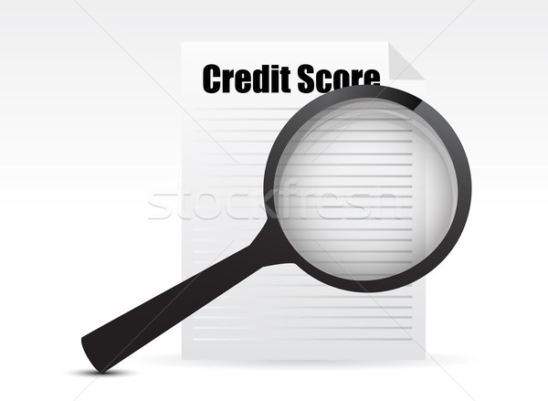Credit Score and Magnifying Glass design over a white background Stock photo © alexmillos