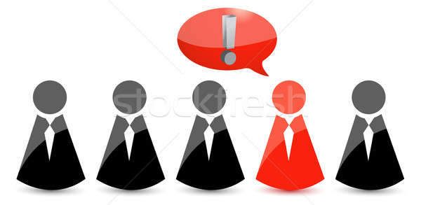 icons people in ties and one exclamation. Illustration design ov Stock photo © alexmillos