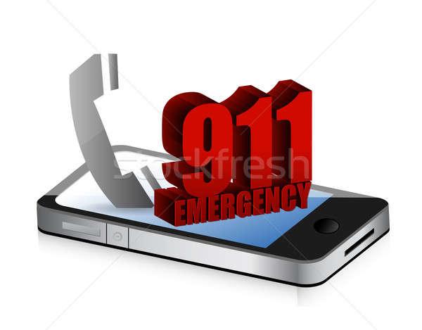 緊急 スマートフォン コール 実例 デザイン 白 ストックフォト © alexmillos
