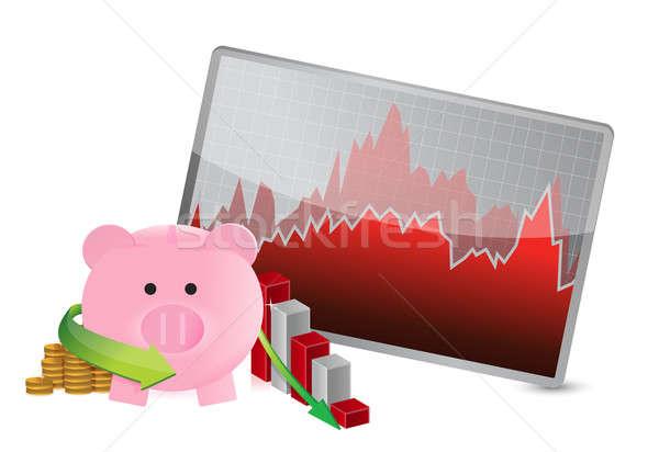 Negative Business Einsparungen Grafik Illustration Design Stock foto © alexmillos