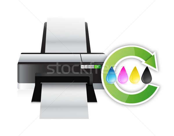 Impresora color ciclo ilustración diseno blanco Foto stock © alexmillos