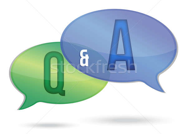 question and answer illustration design over white Stock photo © alexmillos