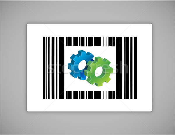 gear upc or barcode illustration design over white Stock photo © alexmillos