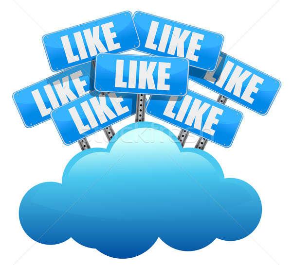 Felhő alapú technológia ahogy közösségi média hálózatok üzlet internet Stock fotó © alexmillos
