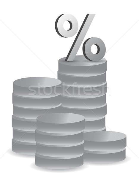 Srebrny monet ilustracja projektu biały tle Zdjęcia stock © alexmillos