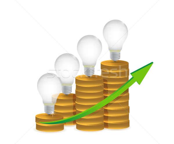 Gloeilamp gouden munten grafiek illustratie geld blad Stockfoto © alexmillos