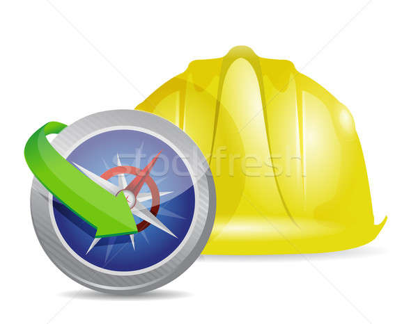 Compass and construction helmet Stock photo © alexmillos