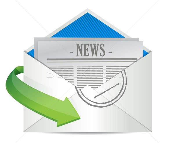 Nyitva boríték újság bent hírek háló Stock fotó © alexmillos