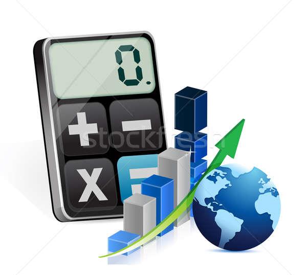 Global de negócios gráfico moderno calculadora ilustração projeto Foto stock © alexmillos