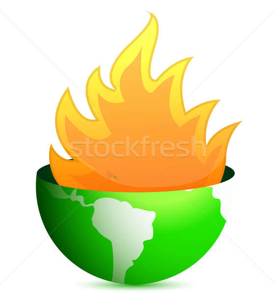 globe with fire flames illustration design over white Stock photo © alexmillos