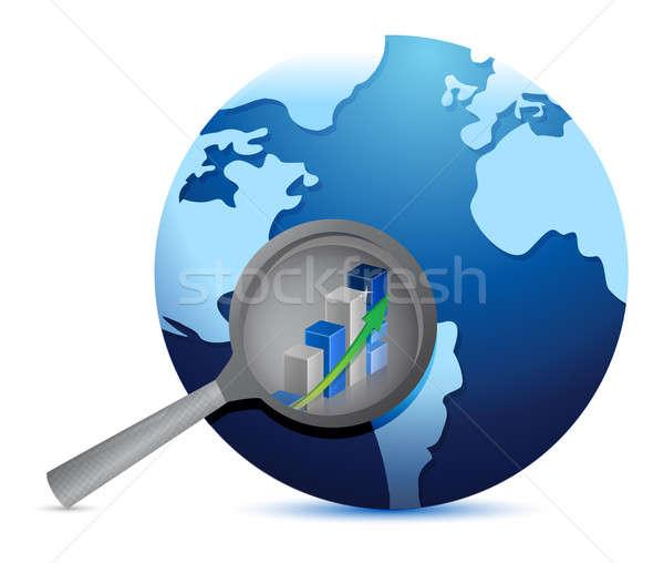 Zakelijke grafiek wereldbol tonen kaart Blauw Stockfoto © alexmillos