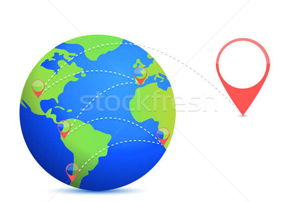 Earth and location points illustration design over white Stock photo © alexmillos