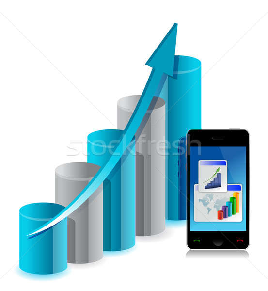 Business graph and mobile phone Stock photo © alexmillos