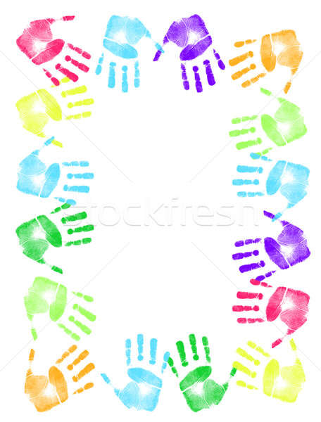 Colorful hand print frame  Stock photo © alexmillos