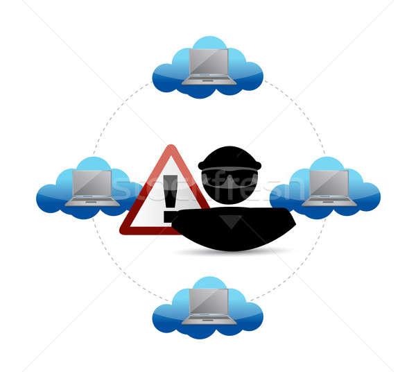 Biztonság figyelmeztetés hacker hozzáférés felhő alapú technológia illusztráció Stock fotó © alexmillos