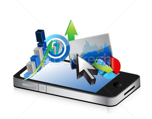 Telefonu działalności finansowych gospodarki ilustracja projektu Zdjęcia stock © alexmillos