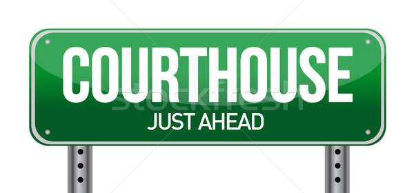 ストックフォト: 裁判所 · 道路標識 · 実例 · デザイン · 白 · 道路