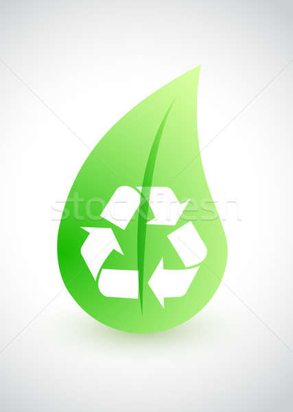 Recycling - environmental conception with leaf Stock photo © alexmillos