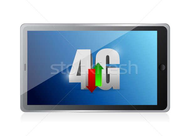 таблетка 4g связи иллюстрация дизайна белый Сток-фото © alexmillos
