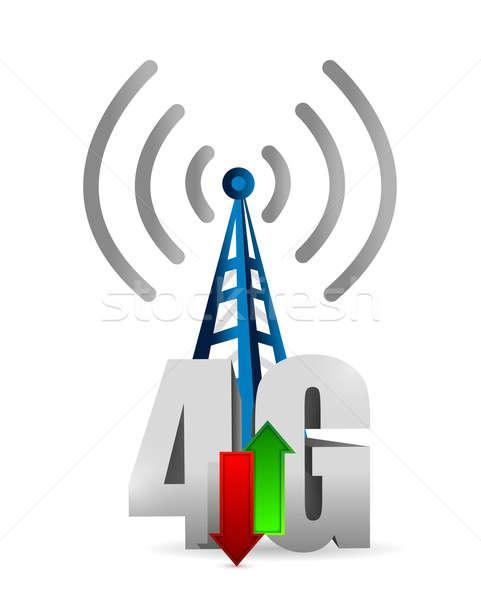 4g toren verbinding illustratie ontwerp witte Stockfoto © alexmillos
