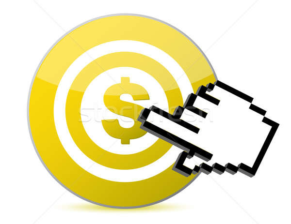Target with dollar currency sign illustration with a hand cursor Stock photo © alexmillos