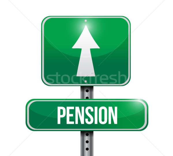 Pension panneau routier illustration design blanche affaires Photo stock © alexmillos
