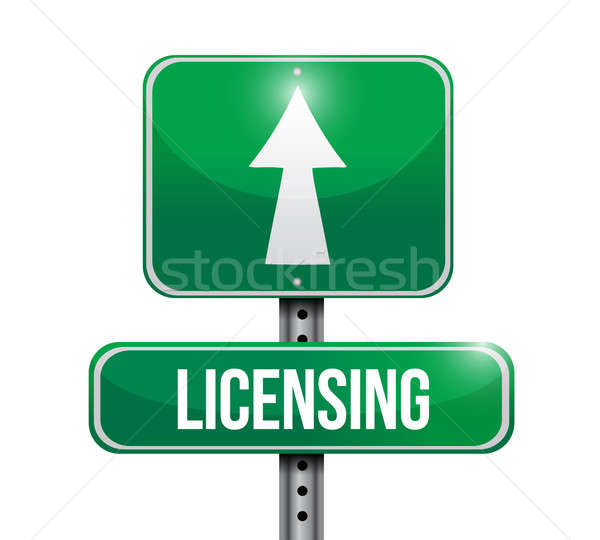 licensing road sign illustration design over a white background Stock photo © alexmillos