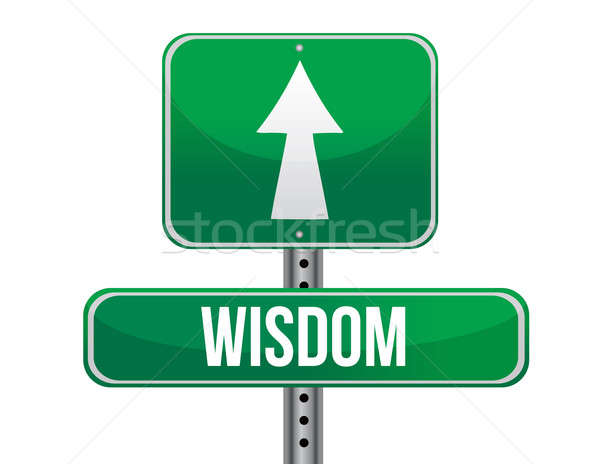wisdom road sign illustration design over a white background Stock photo © alexmillos