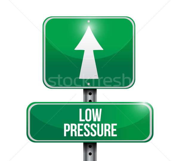 Baixo pressão placa sinalizadora ilustração projeto branco Foto stock © alexmillos