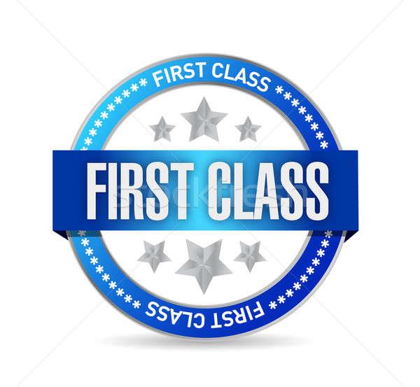 Első osztály fóka bélyeg illusztráció terv fehér Stock fotó © alexmillos