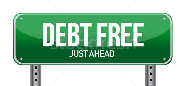 debt free green traffic road sign illustration design over white Stock photo © alexmillos