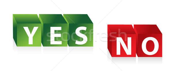 Tak nie 3D czerwony zielone Zdjęcia stock © alexmillos