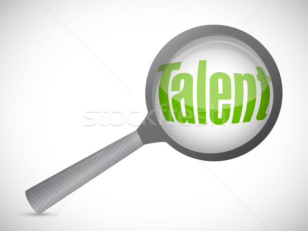 Magnifying glass showing talent word on white background Stock photo © alexmillos