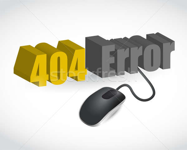 404 error sign and mouse illustration design over white Stock photo © alexmillos