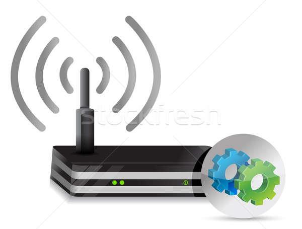 Sans fil routeur engins illustration design blanche Photo stock © alexmillos