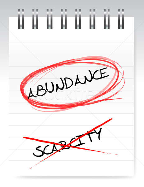 abundance vs scarcity illustration design over a white notepad Stock photo © alexmillos
