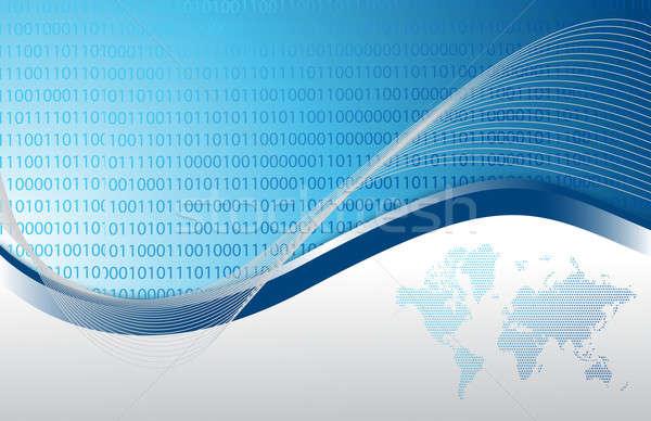 синий двоичный международных интернет бизнеса аннотация Сток-фото © alexmillos